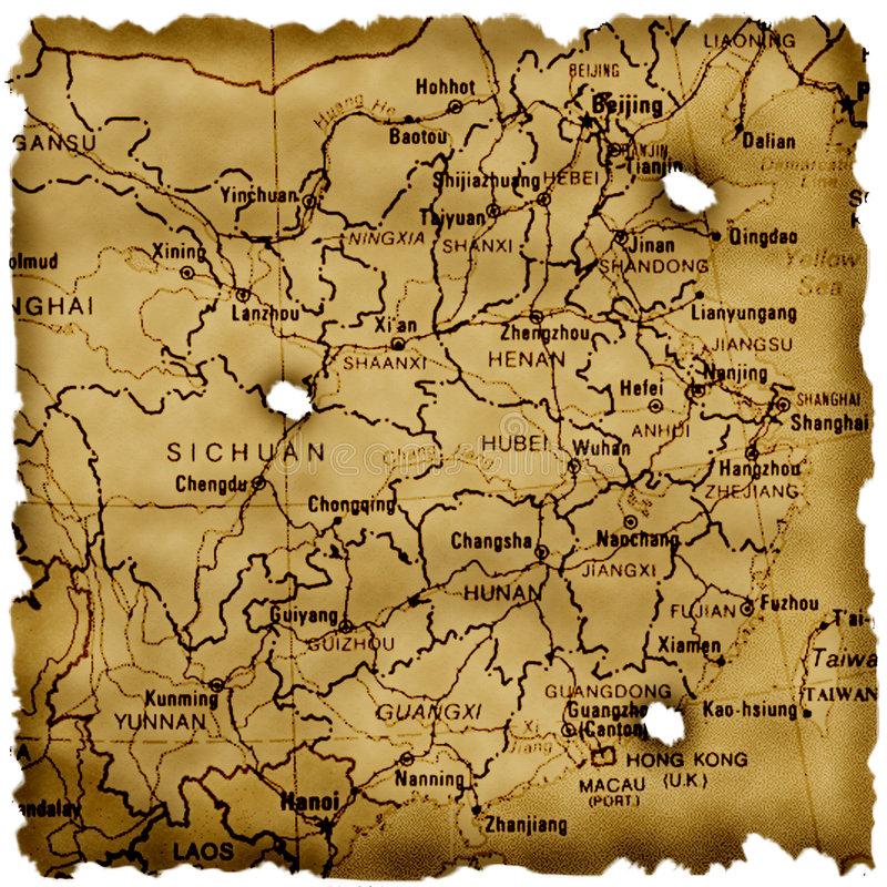 De oude kaart van China vector illustratie