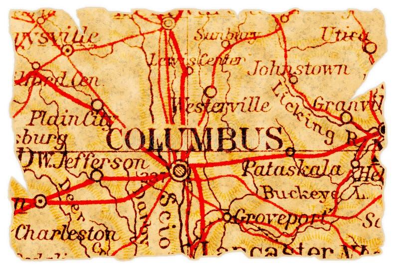 De oude kaart van Columbus royalty-vrije stock afbeeldingen