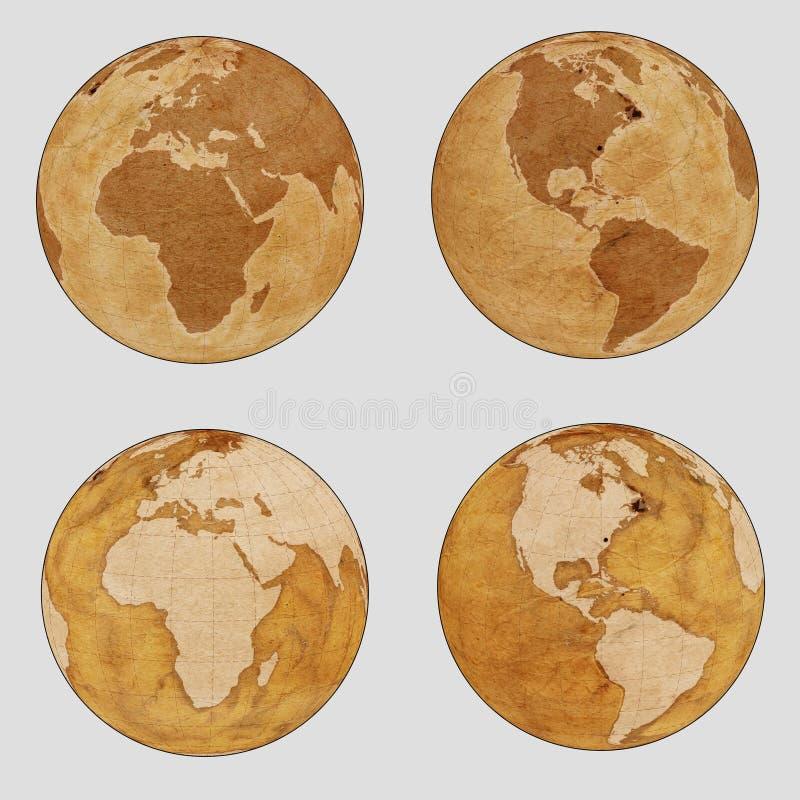 De oude Kaart van de Aardewereld - duidelijke reeks vector illustratie