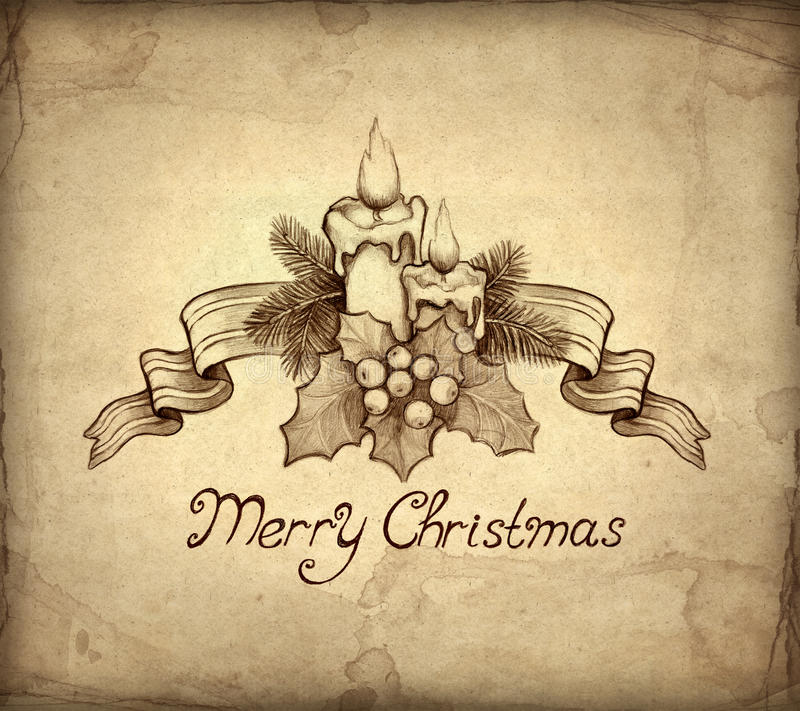 De oude kaart van de Kerstmisgroet stock illustratie