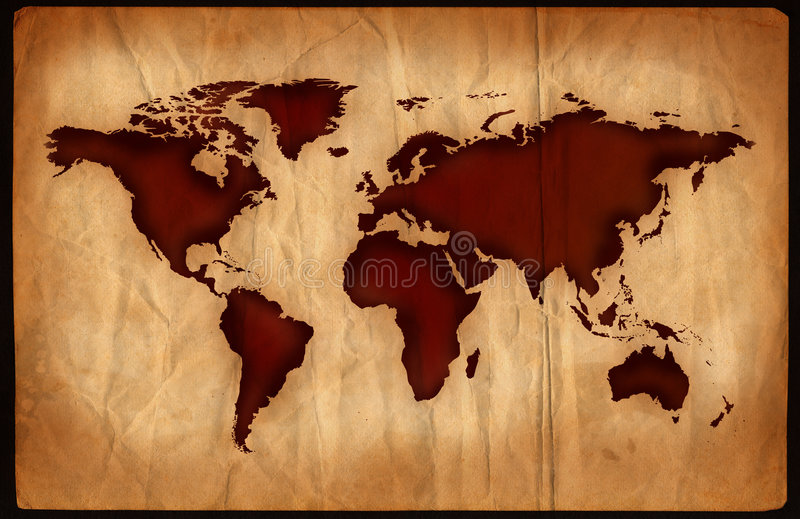 De oude Kaart van de Wereld stock illustratie