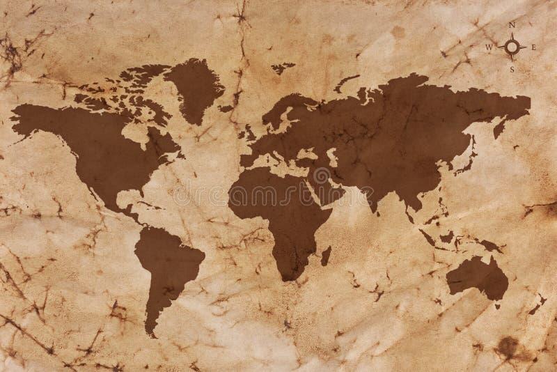 De oude kaart van de Wereld op gevouwen en bevlekt perkamentdocument stock afbeelding