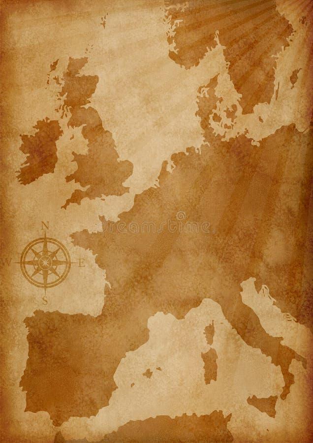 De oude kaart van Europa