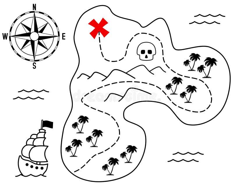 De oude Kaart van het Eiland van de Schat royalty-vrije illustratie