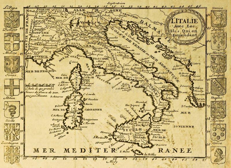 De oude kaart van Italië