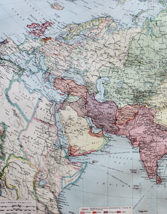 De oude Kaart van 1945 van Westelijk Europa, met inbegrip van Noord-Afrika royalty-vrije illustratie