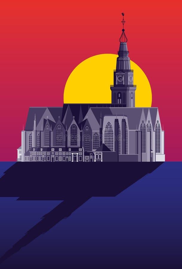 De Oude Kerk/die alte Kirche - Amsterdam vektor abbildung