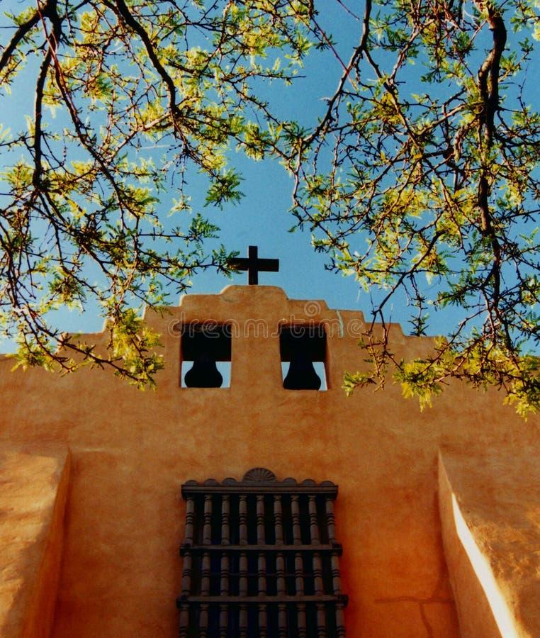 De oude Kerk van Fe van de Kerstman, New Mexico royalty-vrije stock foto's