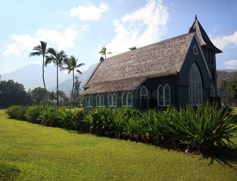 De oude Kerk van Wai'oli Hui'ia in Hanalei stock foto's