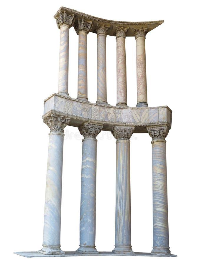 De oude kolommen van de colonnade marmeren die steen op witte backgro worden geïsoleerd royalty-vrije stock afbeelding