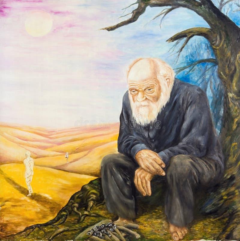 De oude man door de troosteloze brand Allegorie van wrok vector illustratie