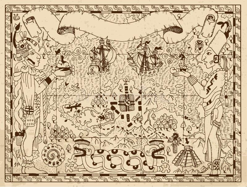 De oude mayan of Azteekse kaart met twee goden en de fantasie landen op document achtergrond royalty-vrije illustratie
