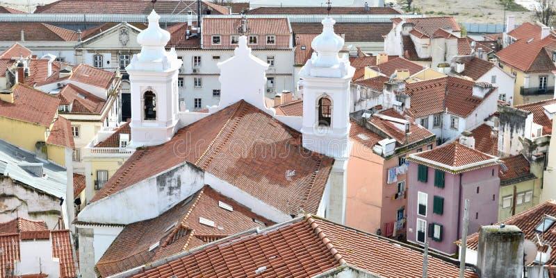 De oude mening van Lissabon royalty-vrije stock foto's