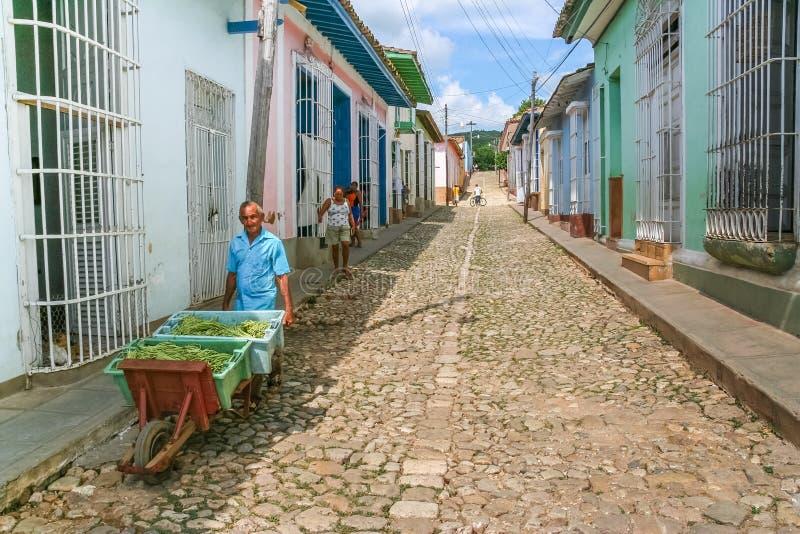 De oude mens met een kar van groenten op a cobblestoned straat in RT stock afbeeldingen