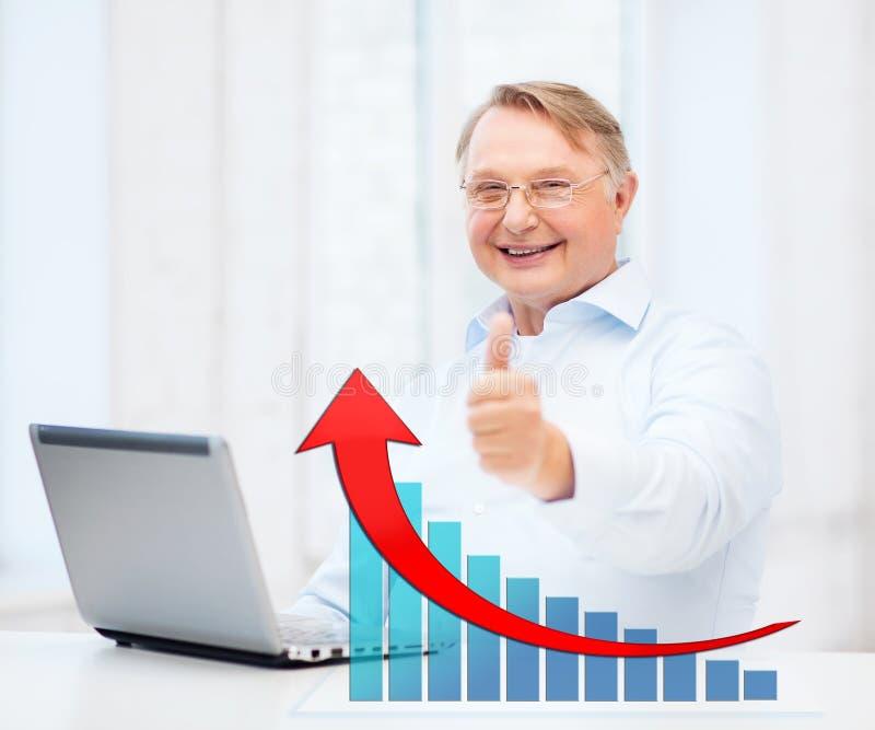 De oude mens met laptop computer het tonen beduimelt omhoog stock fotografie