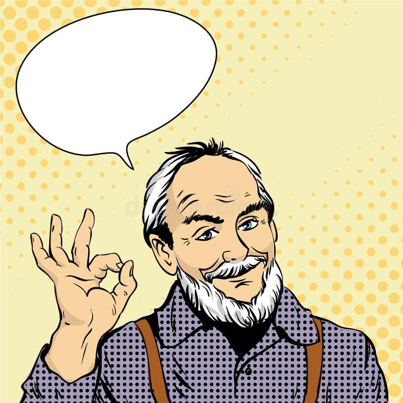 De oude mens toont O.K. handteken Vectorillustratie in retro grappige pop-artstijl Ontwerpelementen en stickers vector illustratie