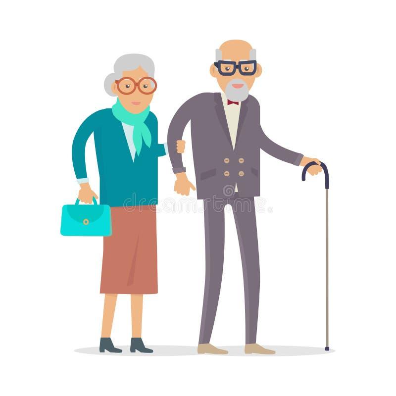 De oude Mensen lopen Geïsoleerd Gelukkige Hogere Man Vrouw vector illustratie