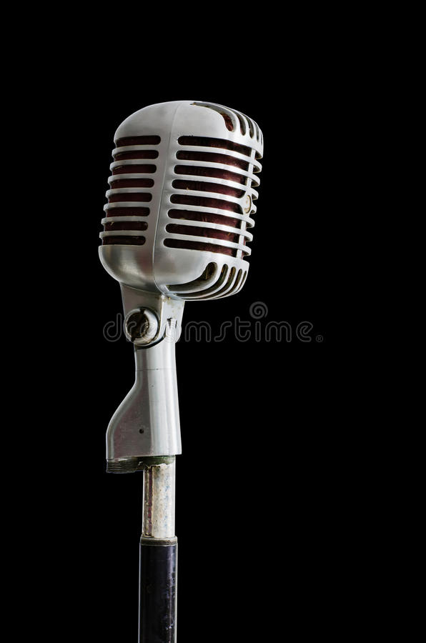 De oude microfoon van het Chroom op Zwarte royalty-vrije stock foto's