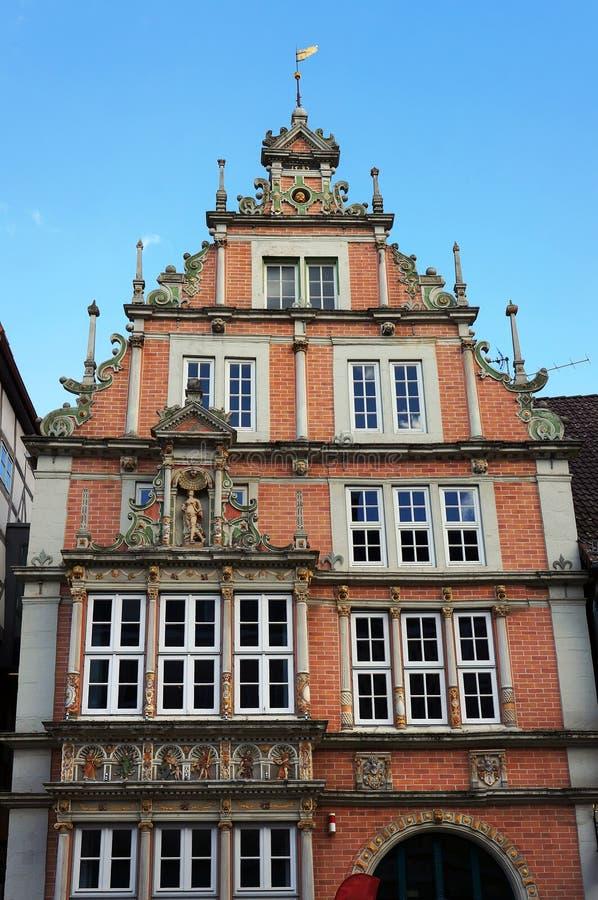 De oude middeleeuwse bouw in Hameln, Duitsland stock foto