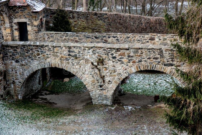 De oude middeleeuwse brug van de steenbaksteen binnen aan een kasteel stock foto's