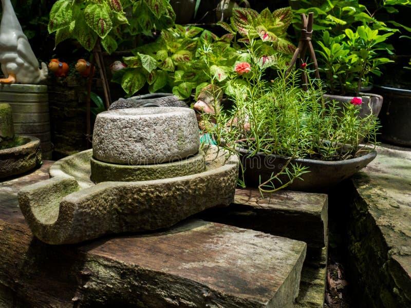 De oude molensteen heeft rond groen korstmos en Oude molensteen gezet op oude houten raad stock foto's