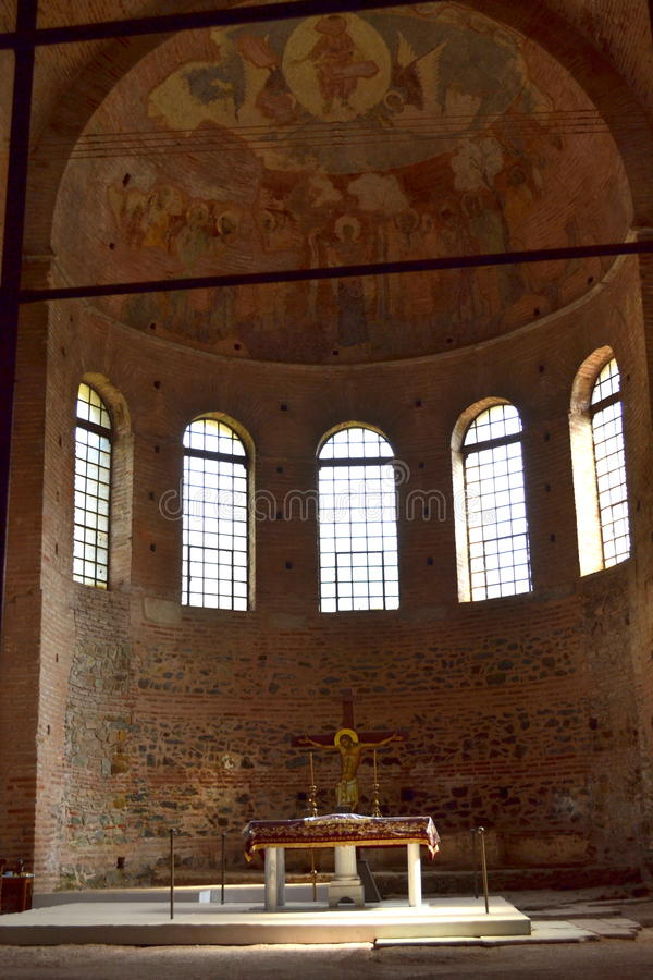De oude mozaïeken Thessaloniki van het kerkaltaar royalty-vrije stock foto