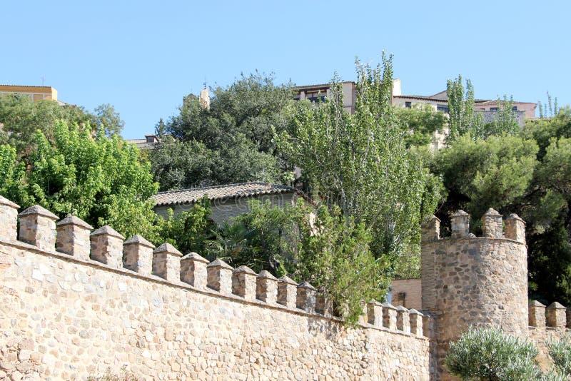 De oude muren van de stad van Toledo, Spanje royalty-vrije stock foto's