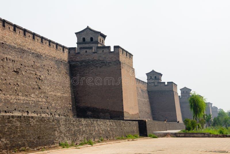 De oude muren van Pingyao, Shanxi, China stock foto