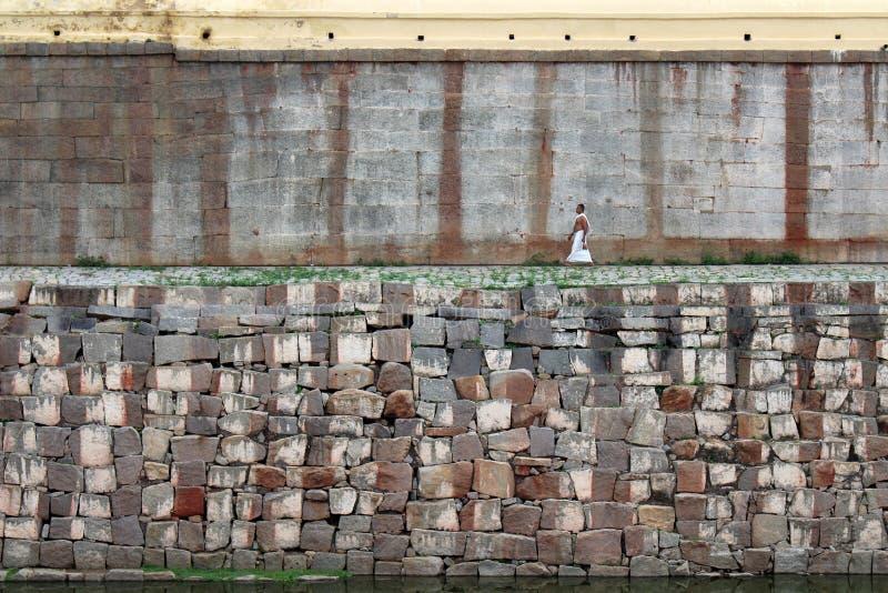 De oude muur van Virupaksha-Tempel van Hampi royalty-vrije stock afbeelding