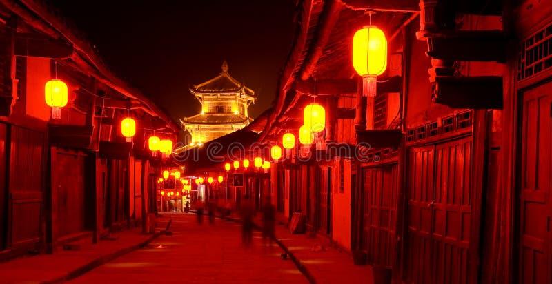 De oude nacht van de de stads rode lantaarn van China royalty-vrije stock afbeelding