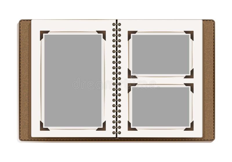 De oude pagina's van het fotoalbum met retro fotokaders vector illustratie
