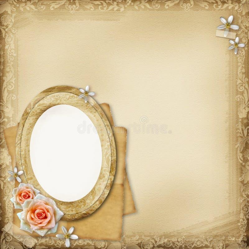 De oude pagina van het fotoalbum royalty-vrije illustratie