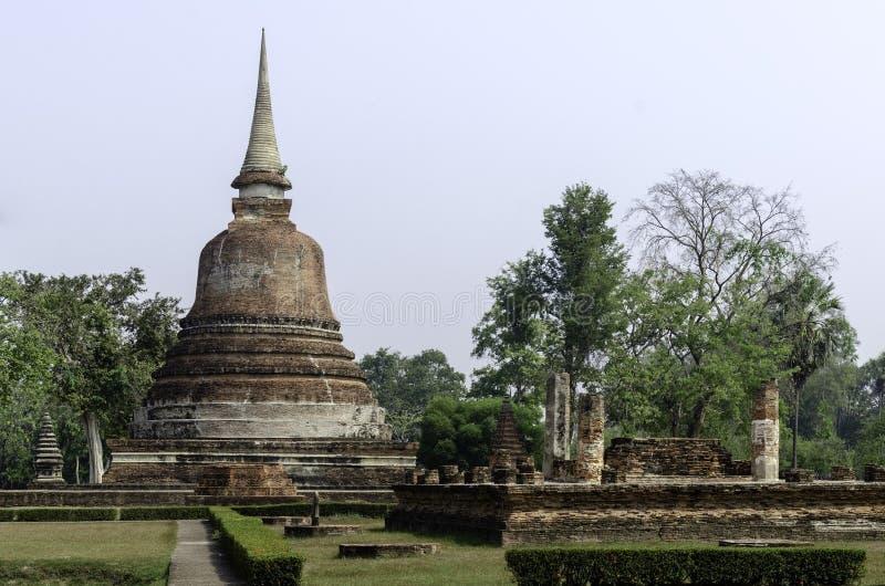 De oude pagoderuïnes, Sukhothai Thailand stock foto