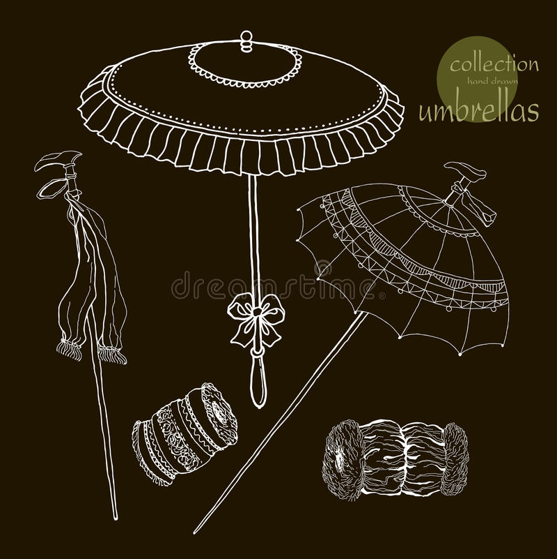 De oude paraplu's van inzamelingsvrouwen Vector stock illustratie