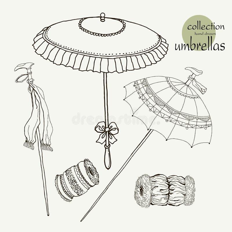 De oude paraplu's van inzamelingsvrouwen Vectorillustratieschets op document achtergrond royalty-vrije illustratie