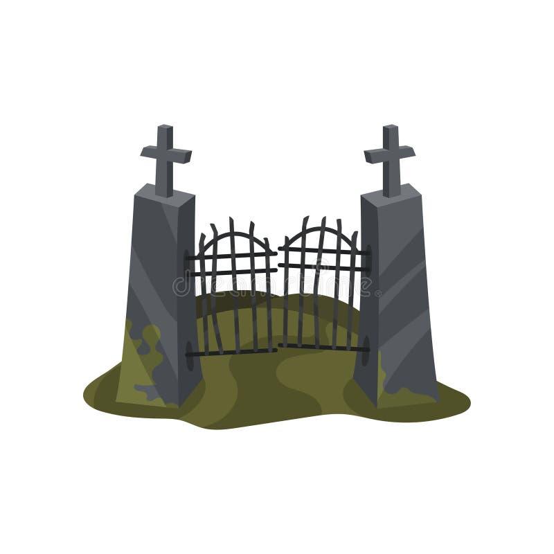 De oude poort van de ijzeringang op steenpijlers met kruisen Een groot spinneweb vóór een bizarre heldere maan Vlakke vector voor stock illustratie