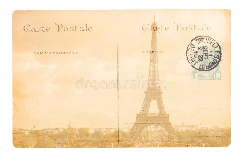 De oude prentbriefkaar van Parijs royalty-vrije stock afbeeldingen