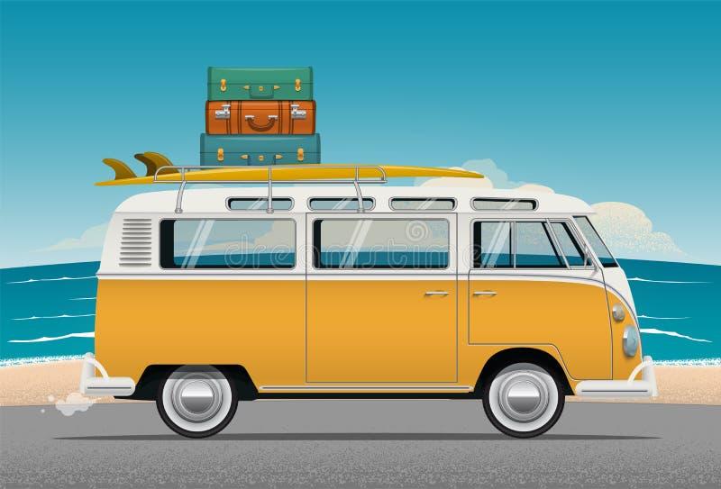 De de oude raad en bagage van Mini Van With Surf van de Schoolkampeerauto op het dak Vector illustratie vector illustratie