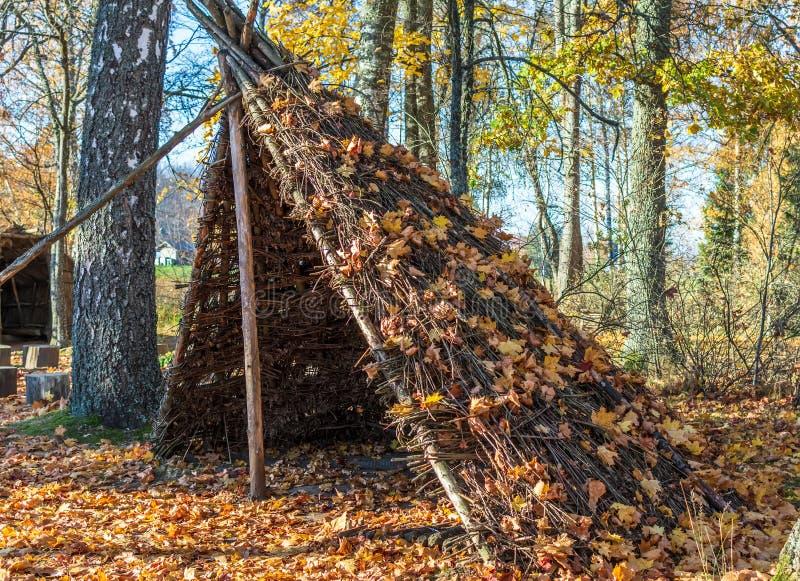 De oude rietwoning van de oude die stam van Latgallians met de oranje herfst wordt bestrooid gaat weg royalty-vrije stock fotografie