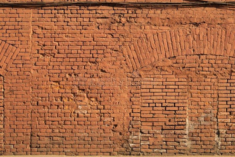 De oude rode achtergrond van de bakstenen muurtextuur Zeer gedetailleerd en echt stock afbeelding