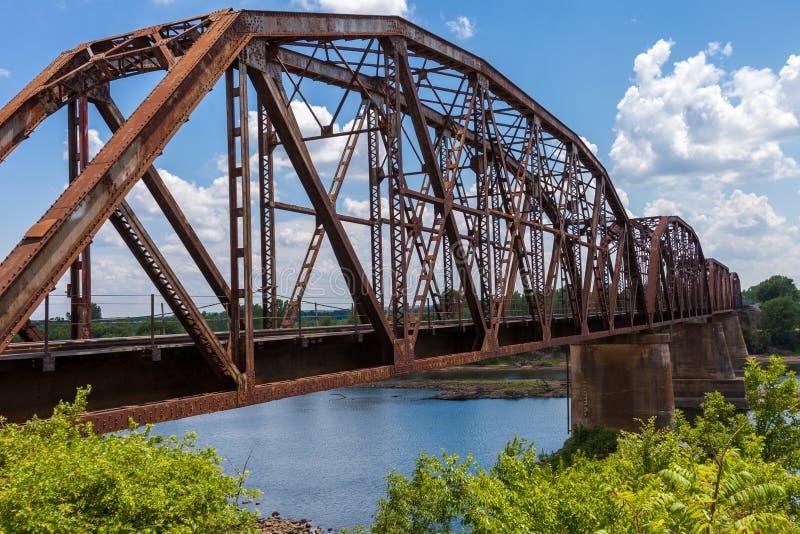De oude roestige brug van de bundelspoorweg over de Rode Rivier op de grens royalty-vrije stock afbeeldingen