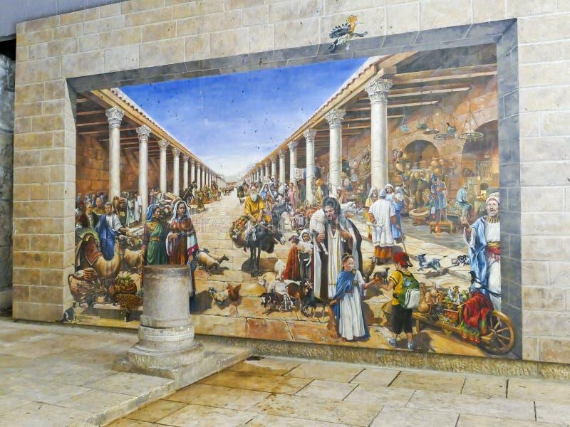 De oude Roman Cardo-straat Jeruzalem dit maakt deel uit van cardo, royalty-vrije stock afbeeldingen