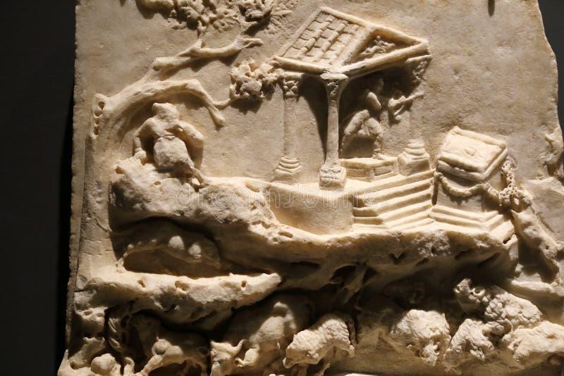 De oude roman standbeelden in Nationaal Roman Roman Museum, Italië royalty-vrije stock afbeeldingen