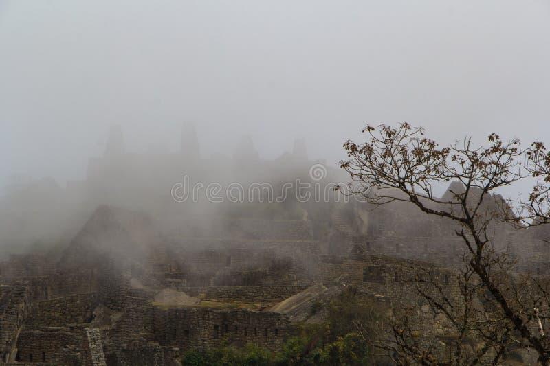 De oude ruïnes in dichte mist stock foto