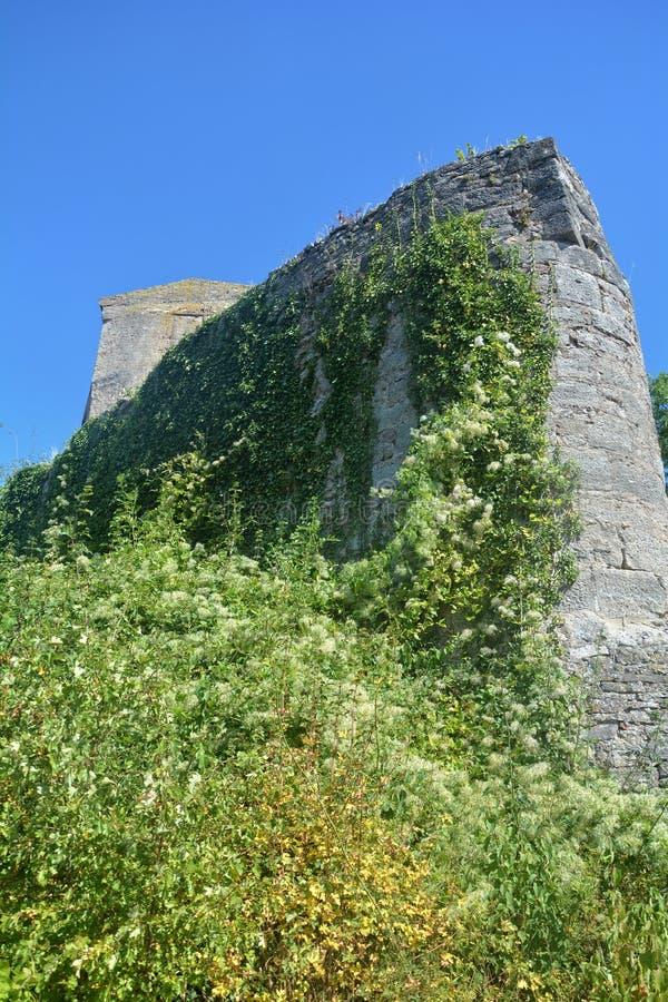 De oude ruïnes van de kasteelmuur royalty-vrije stock afbeelding