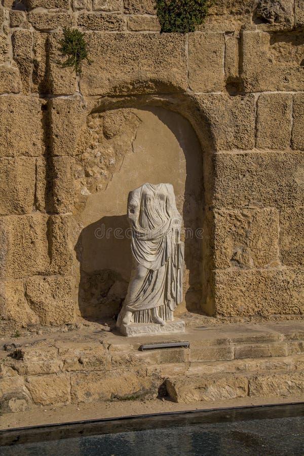 De oude ruïnes van de Romeinenvilla in Caesarea israël royalty-vrije stock fotografie
