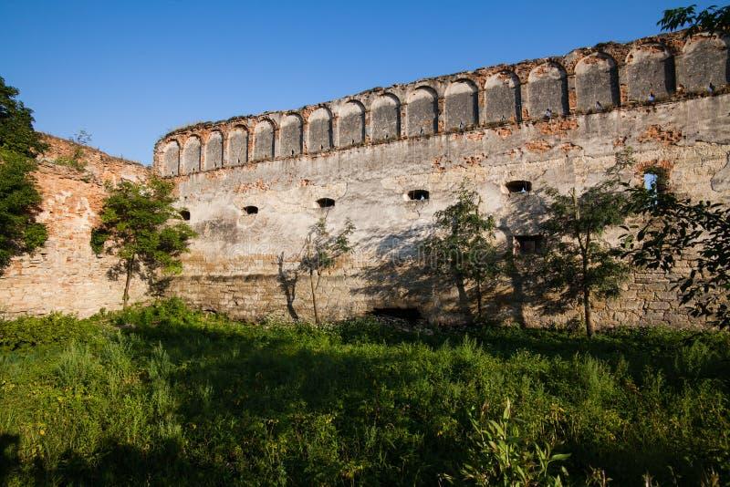 De oude ruïnes van de doen ineenstorten muren met poorten en vensters het kasteel van Staroselskiy in Stare Selo, de Oekraïne stock foto