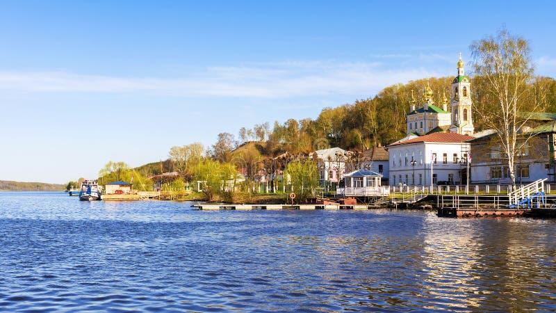 De oude Russische stad van Ples op de Volga Rivier, Rossia stock afbeeldingen