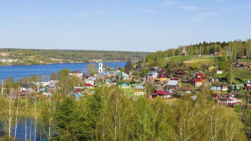 De oude Russische stad van Ples op de Volga Rivier, Rusland royalty-vrije stock fotografie