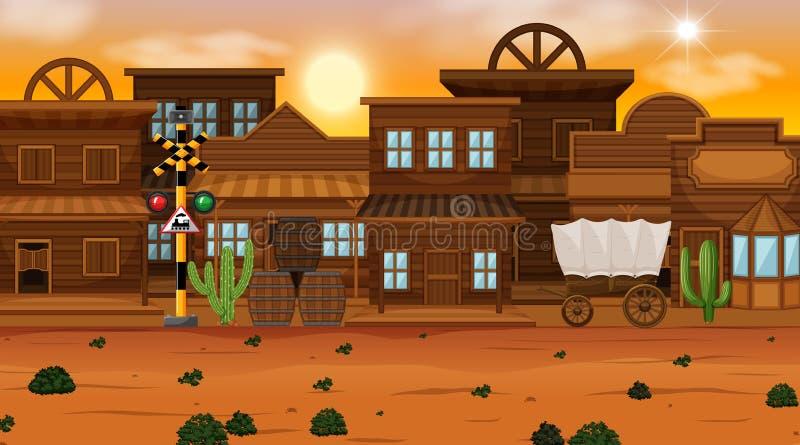 De oude scène van de woestijnstad royalty-vrije illustratie
